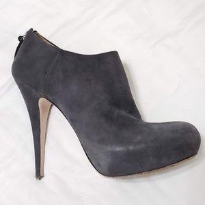 Miu Miu Gray Suede Leather Platform Ankle Boot